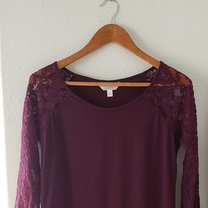 Tops - NWOT Wine lace • long sleeve top